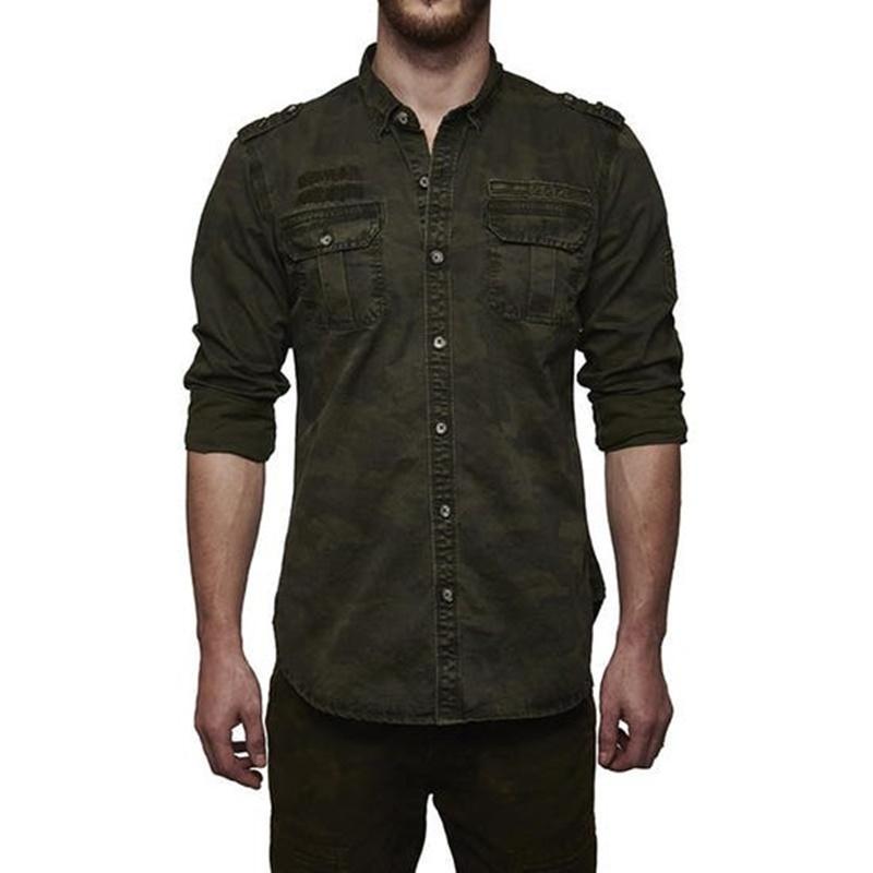 카무플라주 올리브 셔츠-2
