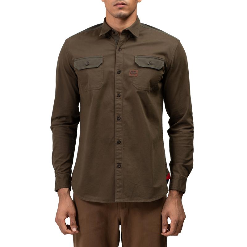 투러 올리브 긴팔 셔츠-3