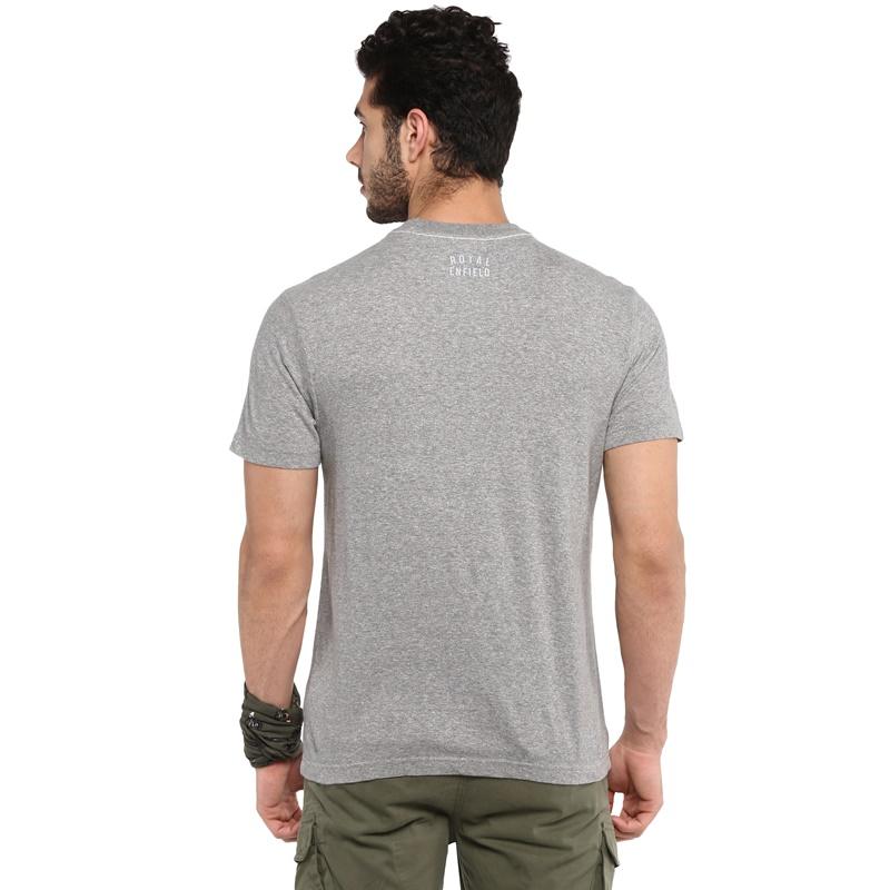 캠프장 그레이 멜란지 반팔 티셔츠-6