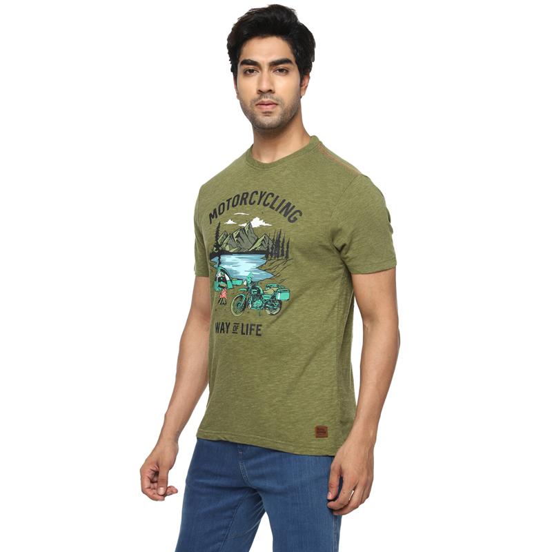 캠프장 올리브 멜란지 반팔 티셔츠-3