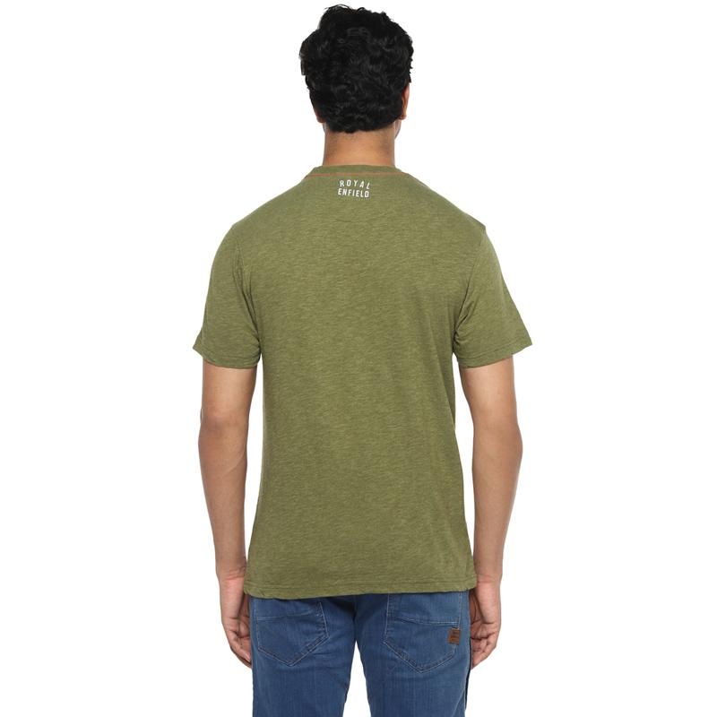 캠프장 올리브 멜란지 반팔 티셔츠-4