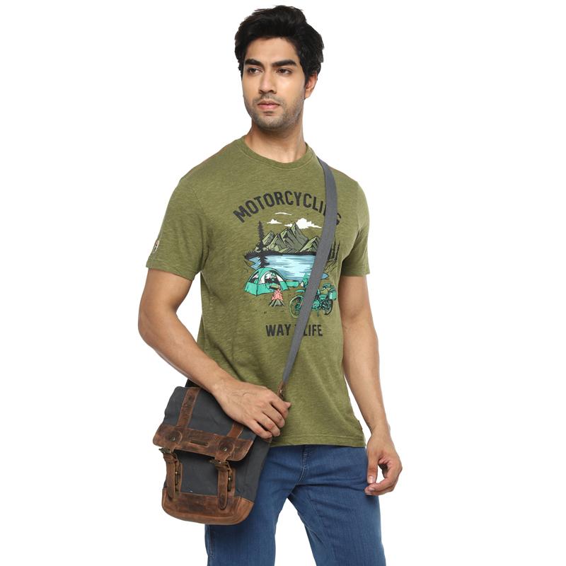 캠프장 올리브 멜란지 반팔 티셔츠-5