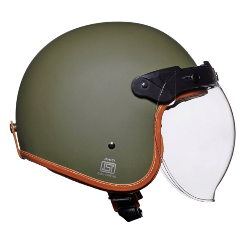 LTHR. TRIM 배틀 그린 헬멧-2
